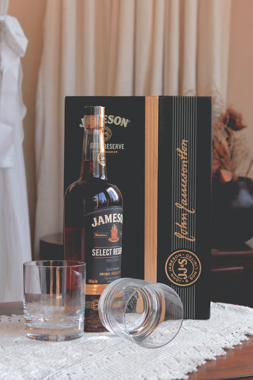 Alcohol and its packaging.
